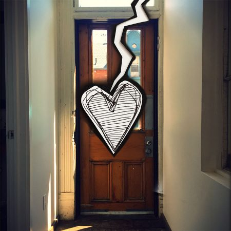 Photograph of door from further down hallway, with a drawing of a heart and a rip overlay